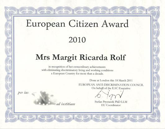 Auszeichnung für Margit Ricarda Rolf - 2010 Urkunde-MRR-European-Citizen-Award