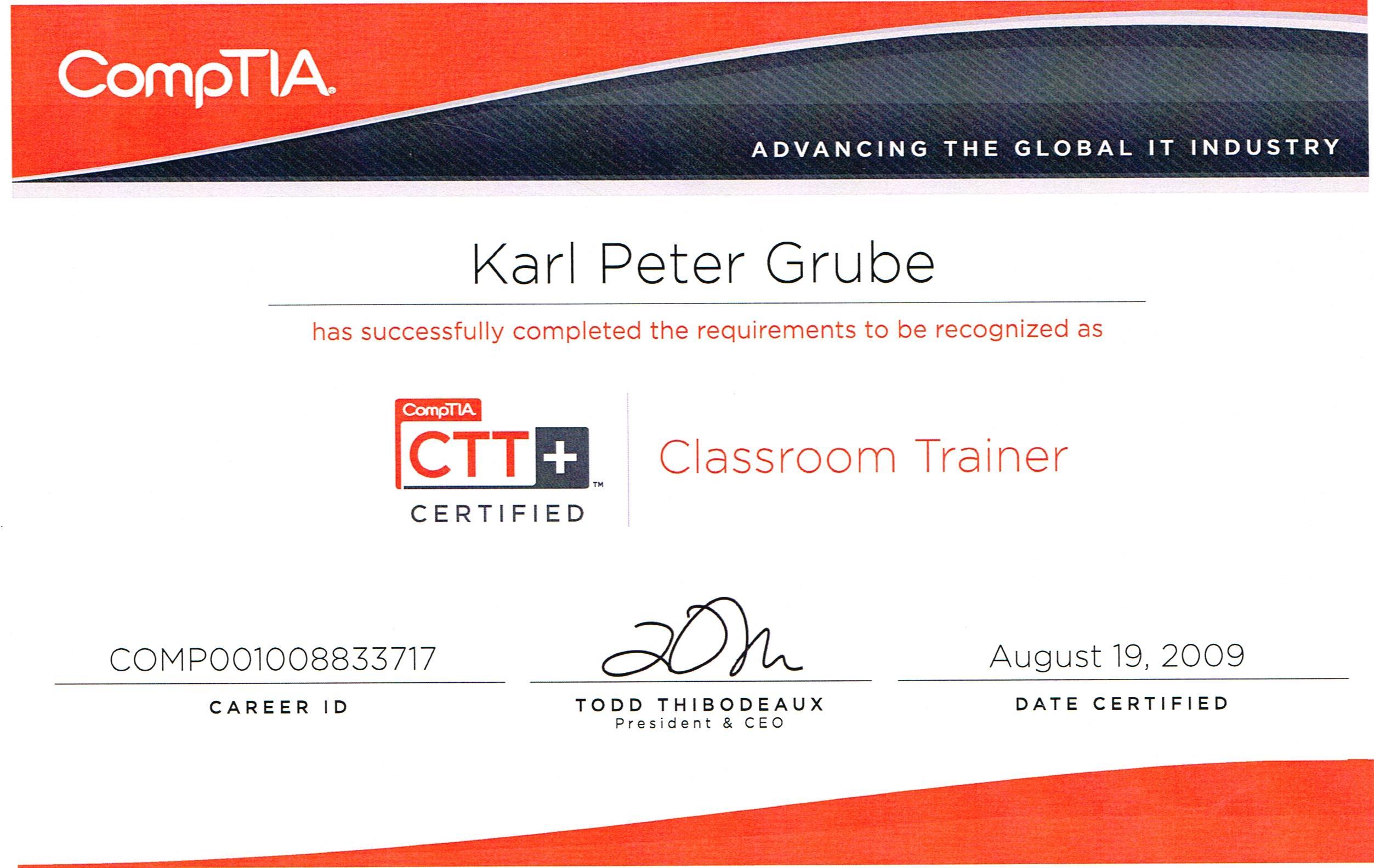 ComTIA - Classroom-Trainer Karl-Peter - 2009