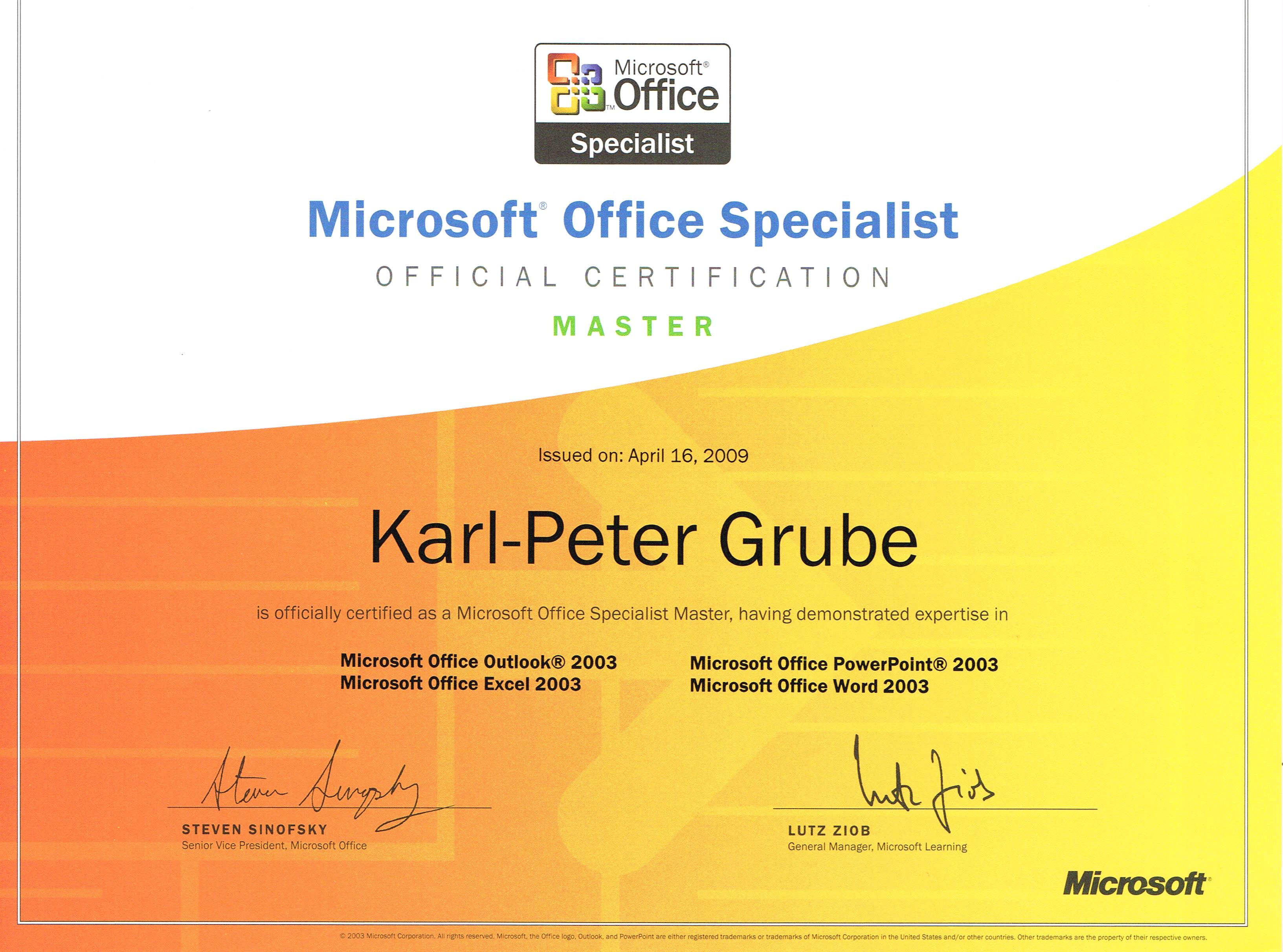 Microsoft Office Specialist Master Certification 2009 Mobbing